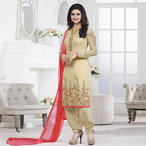 Beige Party Wear Georgette Embroidered Designer Salwar Suit