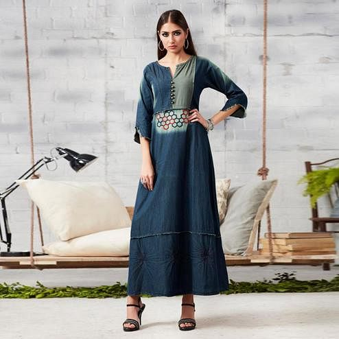 Majesty Dark Blue Colored Casual Embroidered Denim Kurti