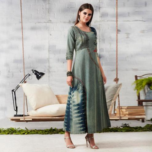 Preferable Grey Colored Casual Embroidered Denim Kurti