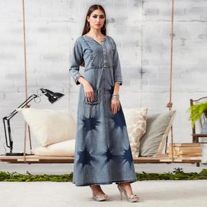 Attractive Light Grey Colored Casual Embroidered Denim Kurti