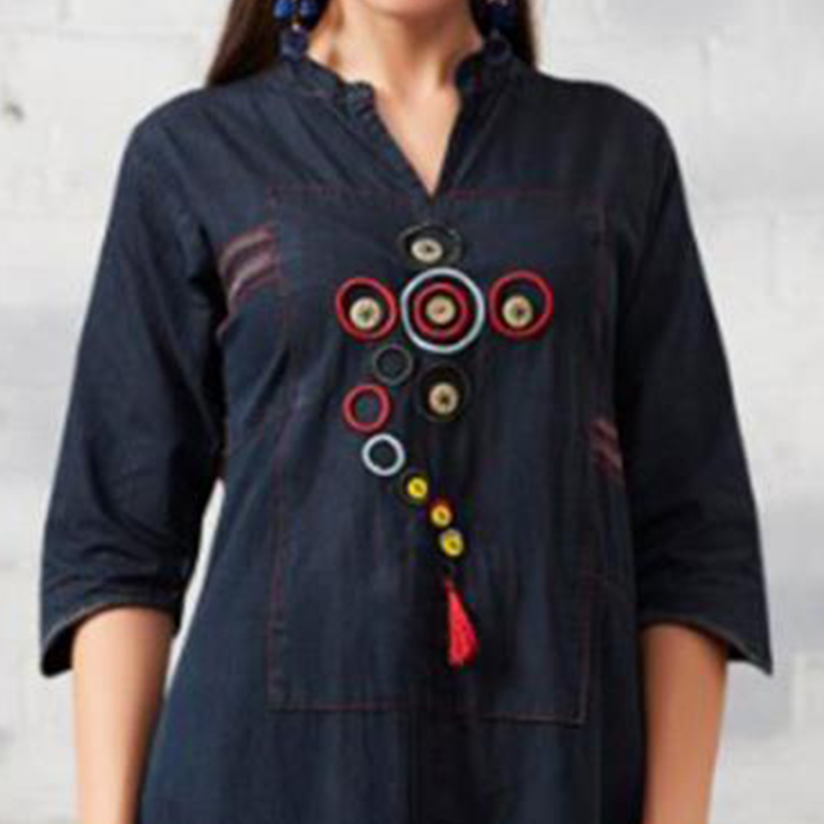 Beautiful Black Colored Casual Embroidered Denim Kurti