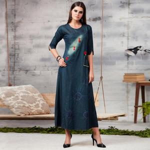 Opulent Blue Colored Casual Embroidered Denim Kurti