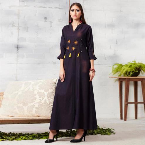 Dazzling Dark Blue Colored Casual Embroidered Denim Kurti