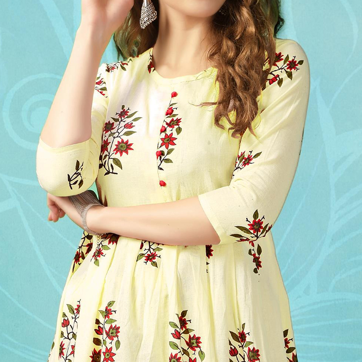 Captivating Light Yellow Colored Casual Wear Printed Cotton Palazzo Suit