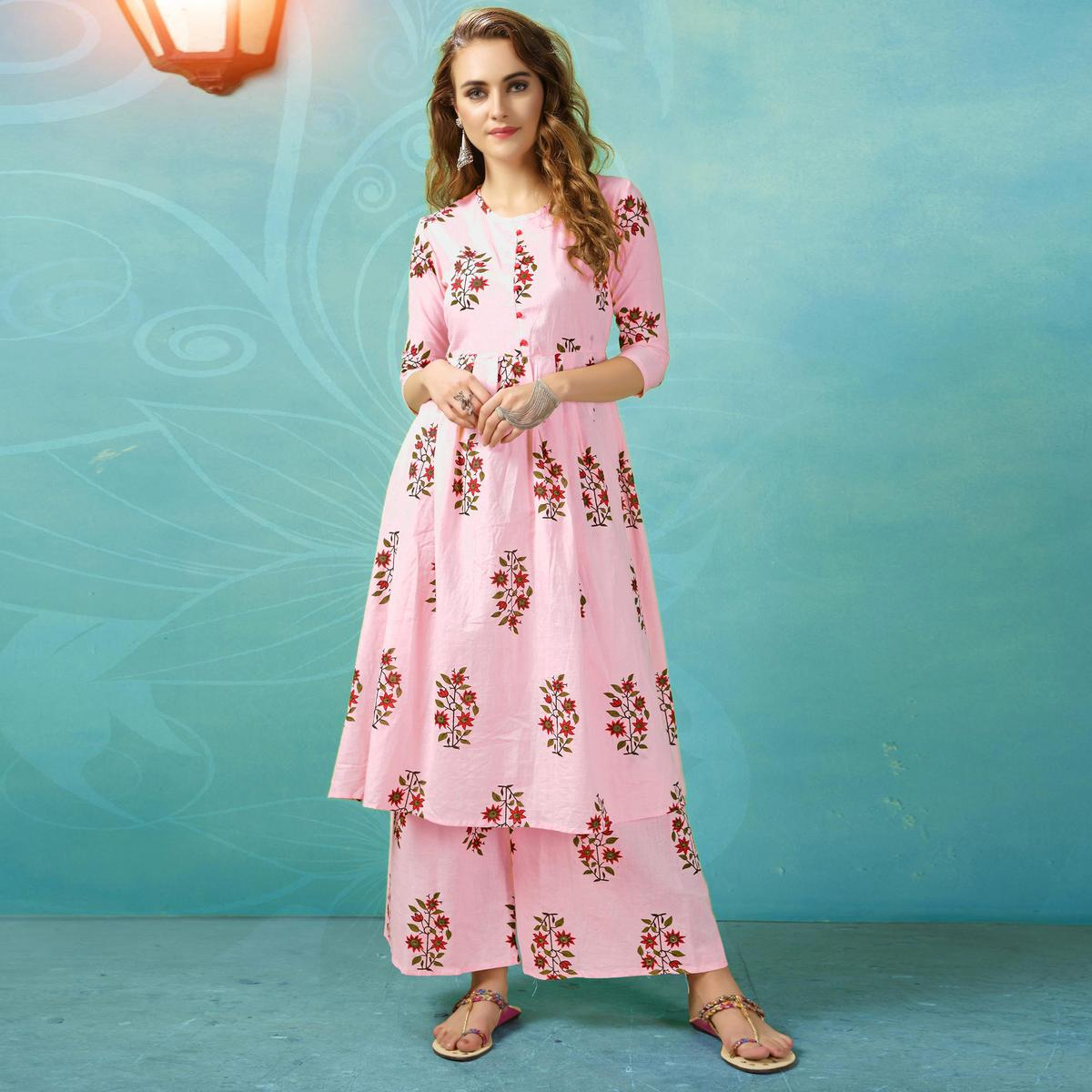 Flirty Pink Colored Casual Wear Printed Cotton Palazzo Suit