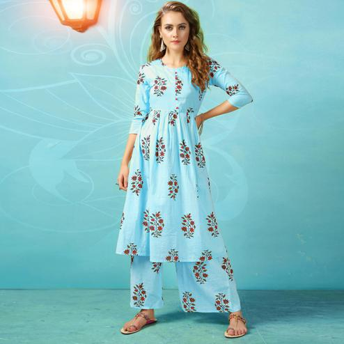 Glowing Light Blue Colored Casual Wear Printed Cotton Palazzo Suit