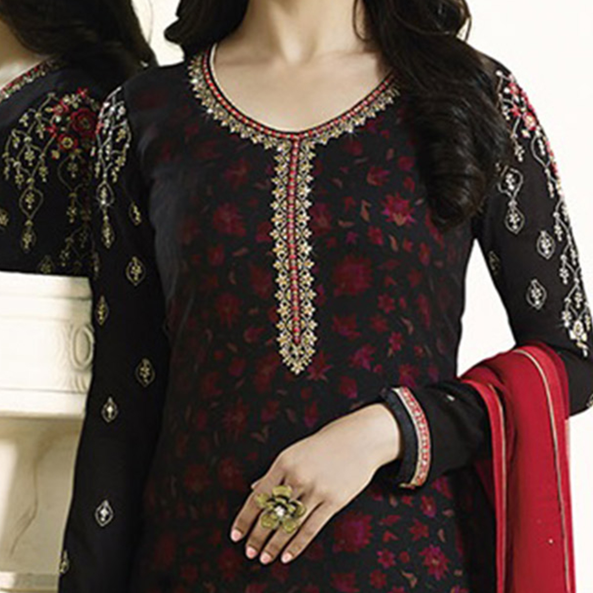 Stunning Black Embroidered Georgette Straight Suit