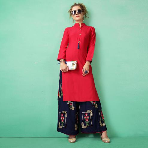 Dazzling Red Colored Casual Wear cotton Kurti-Palazzo Suit
