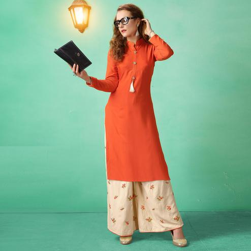 Innovative Orange Colored Casual Wear cotton Kurti-Palazzo Suit