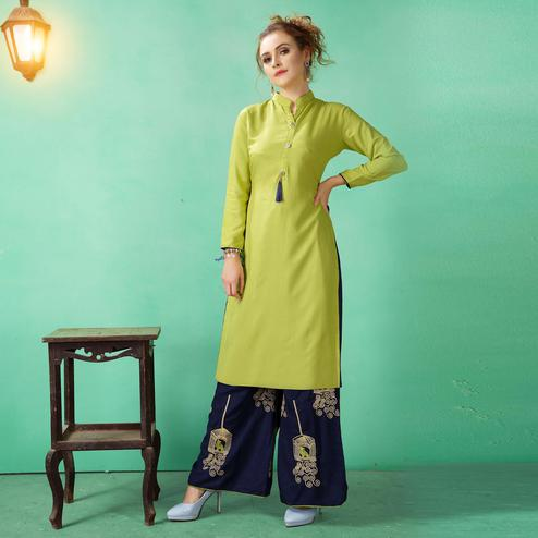 Arresting Light Green Colored Casual Wear Cotton Kurti-Palazzo Suit