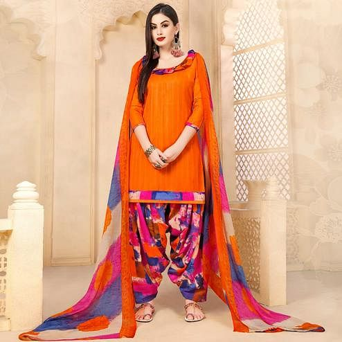 Adorable Orange Colored Casual Wear Printed Cotton - Jacquard Salwar suit