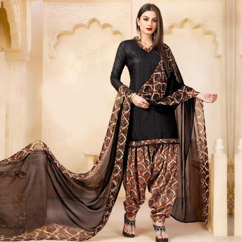 Attractive Black Colored Casual Wear Printed Cotton - Jacquard Salwar suit