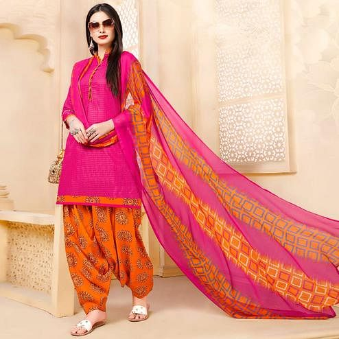 Beautiful Pink Colored Casual Wear Printed Cotton - Jacquard Salwar suit