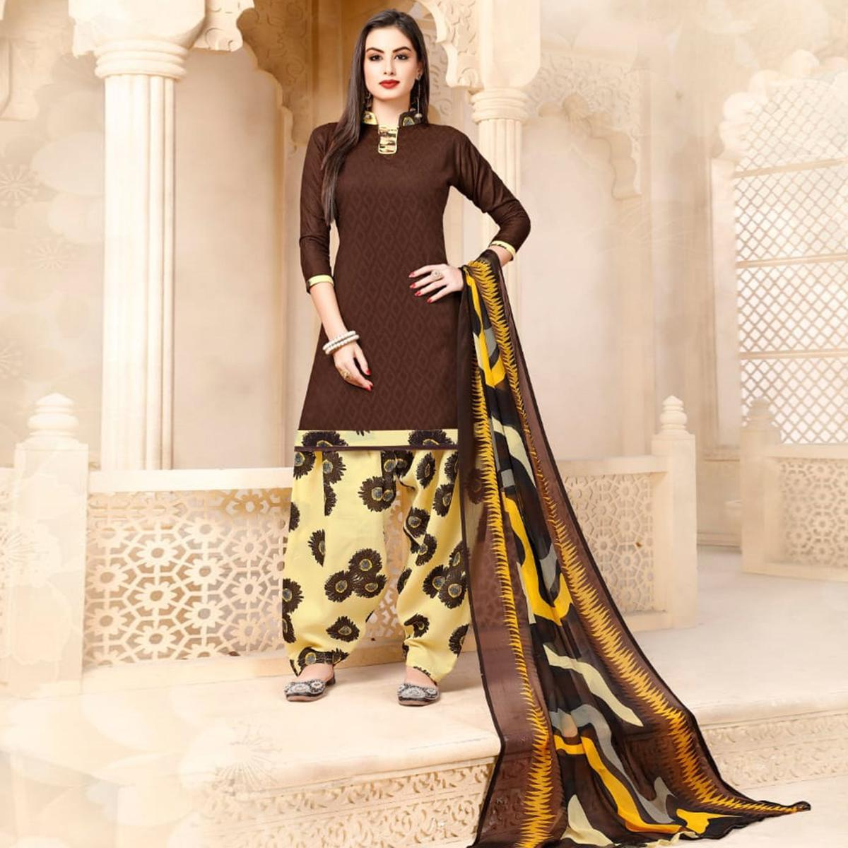 Classy Brown Colored Casual Wear Printed Cotton - Jacquard Salwar suit