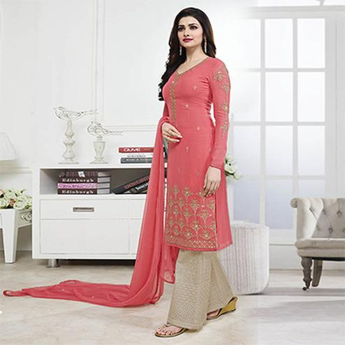 Gajri Party Wear Georgette Embroidered Designer Salwar Suit