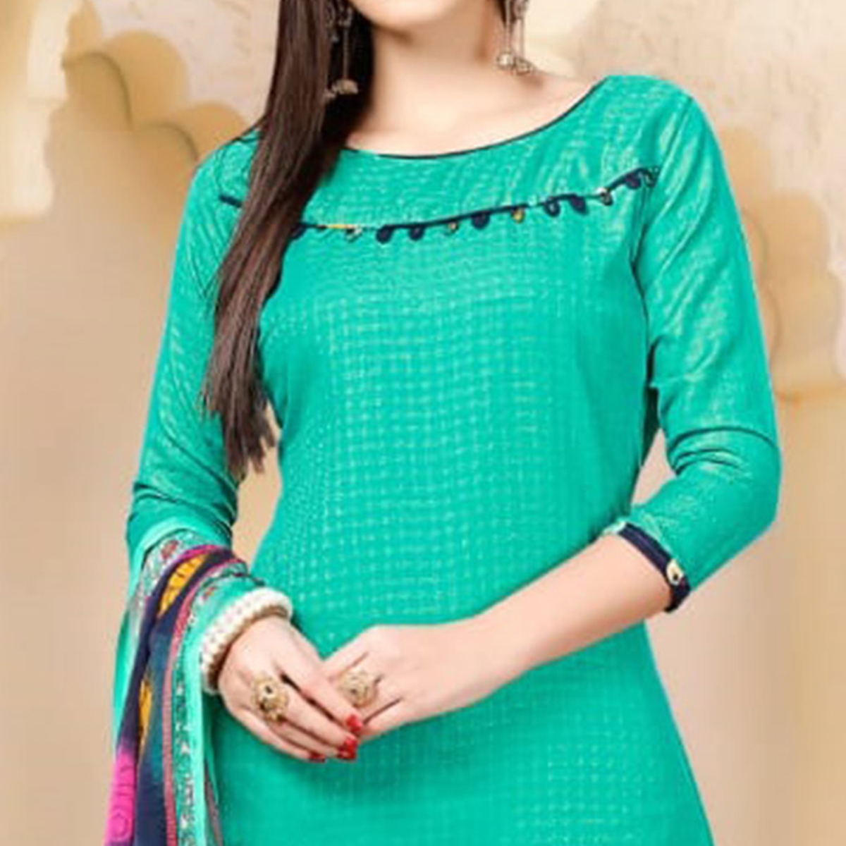 Glorious Turquoise Colored Casual Wear Printed Cotton - Jacquard Salwar suit