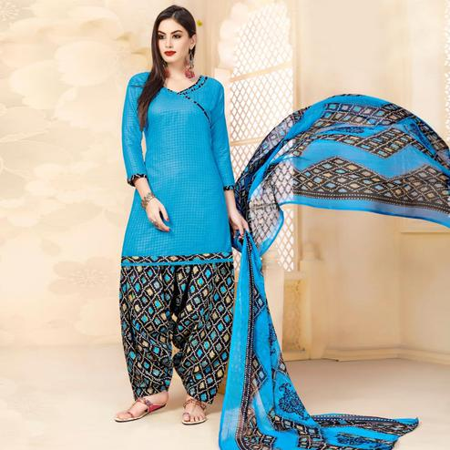 Graceful Sky Blue Colored Casual Wear Printed Cotton - Jacquard Salwar suit