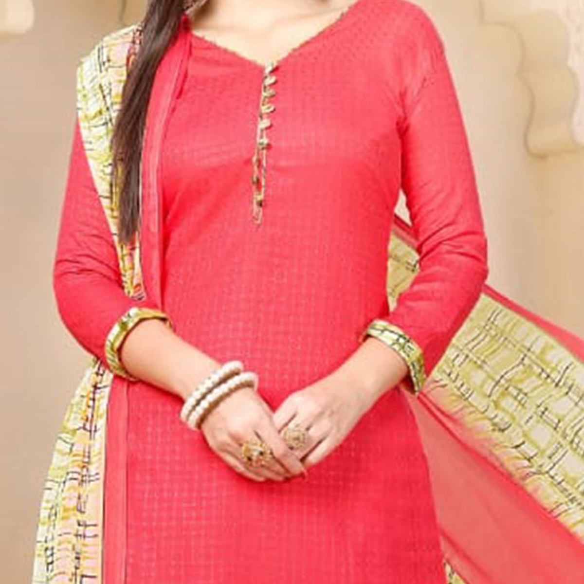 Lovely Red Colored Casual Wear Printed Cotton - Jacquard Salwar suit
