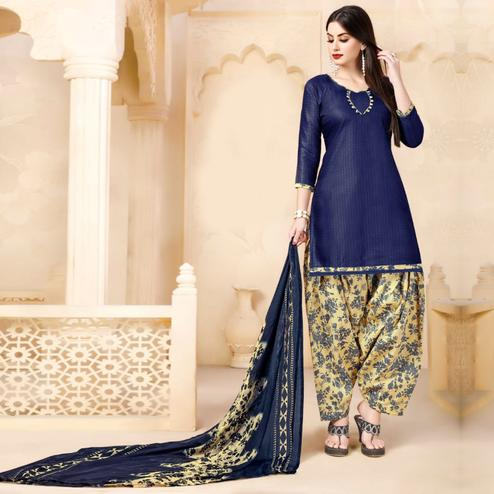 Charming Dark Blue Colored Casual Wear Printed Cotton - Jacquard Salwar suit