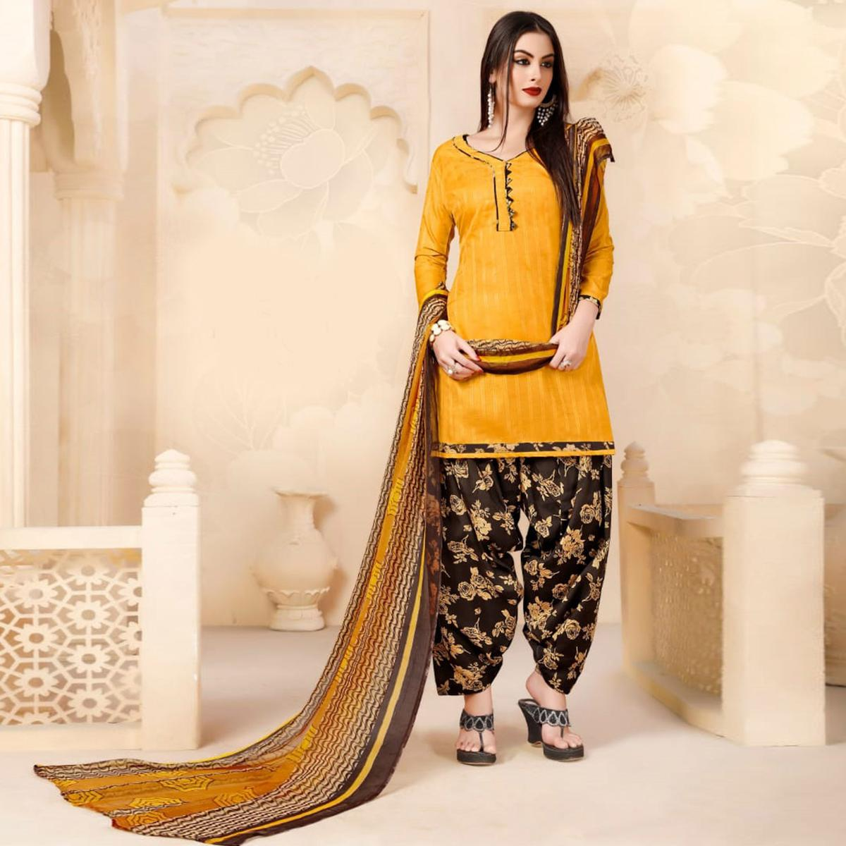Ravishing Yellow Colored Casual Wear Printed Cotton - Jacquard Salwar suit