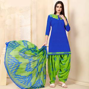 Delightful Royal Blue Colored Casual Wear Printed Cotton - Jacquard Salwar suit