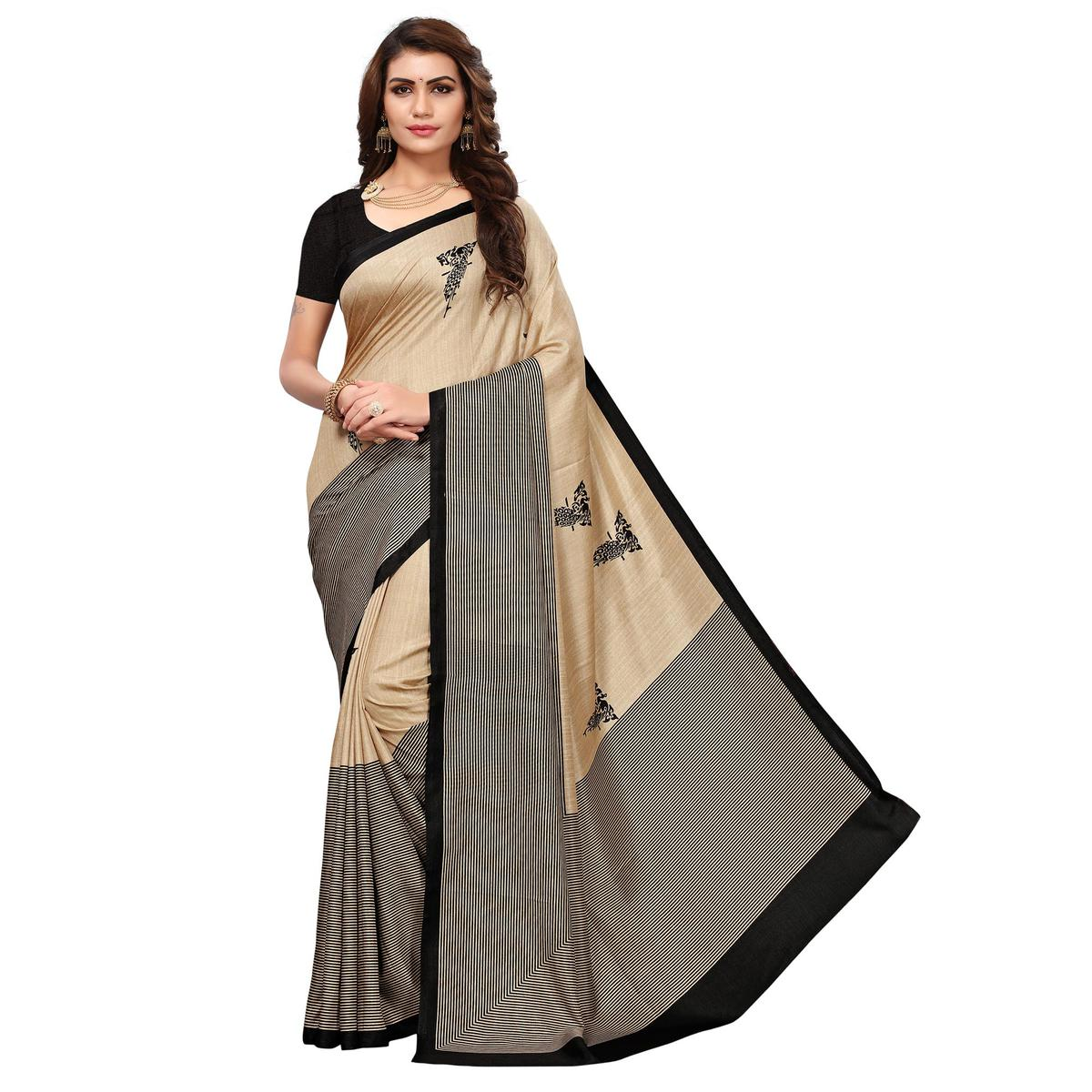 Gorgeous Beige - Black Colored Casual Wear Printed Saree