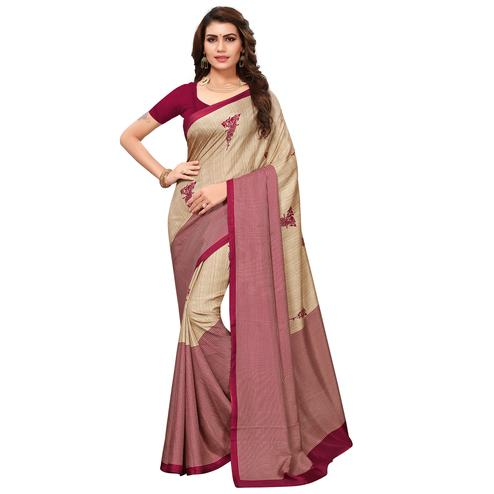 Glorious Beige - Maroon Colored Casual Wear Printed Saree