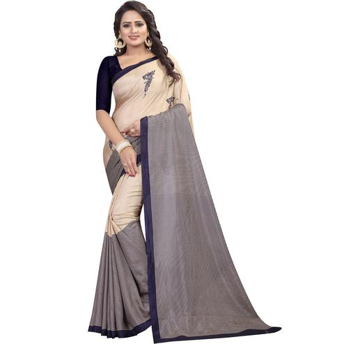 Graceful Beige - Navy Blue Colored Casual Wear Printed Saree