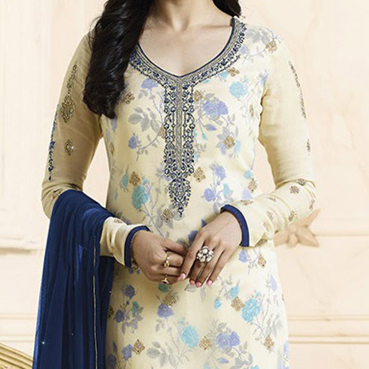 Classy Cream Embroidered Georgette Straight Suit