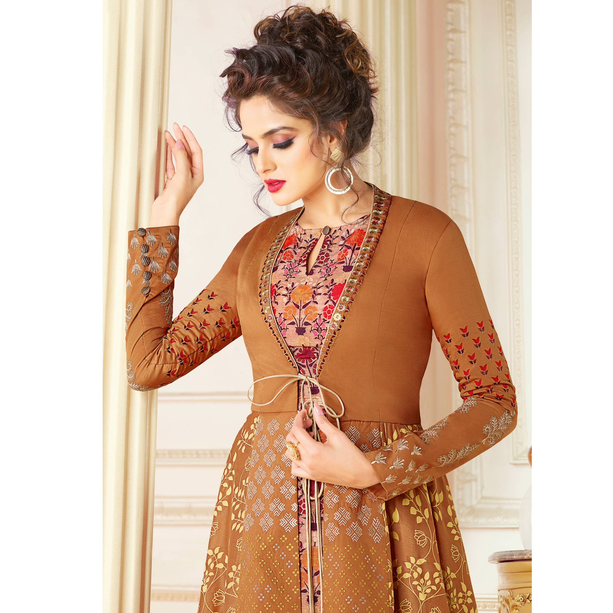 Glorious Light Brown Colored Partywear Printed Art Silk Jacket Style Kurti