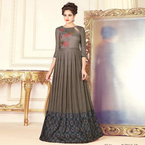 Stunning Gray Colored Partywear Printed Silk Long Kurti