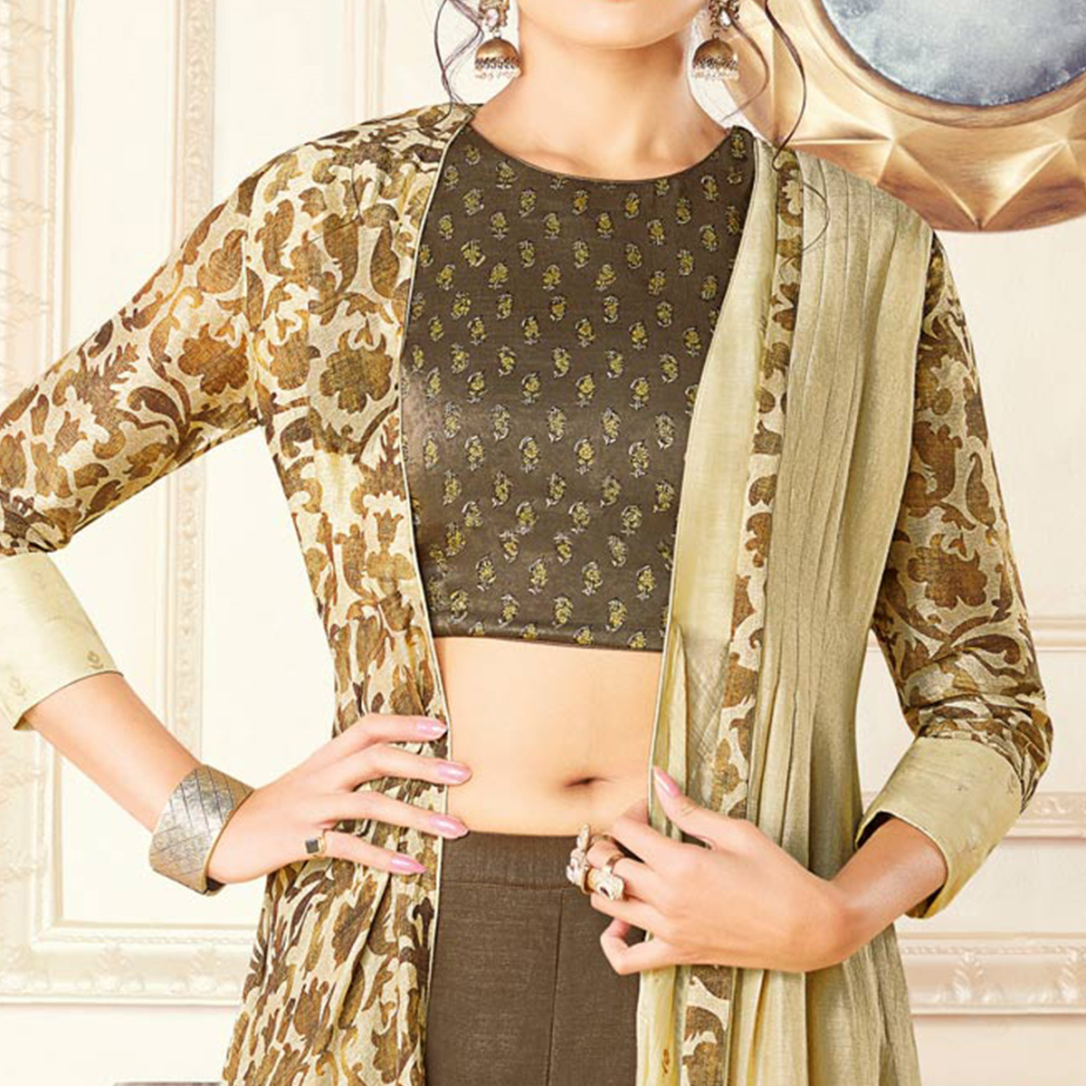 Lovely Dark Olive Green Colored Partywear Printed Art Silk-Tussar Silk Jacket Style Palazzo Suit