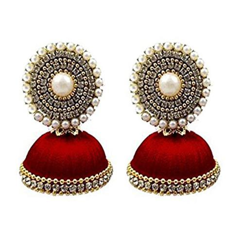 Unique Maroon Colored Stone Silk Thread Jhumki Earring