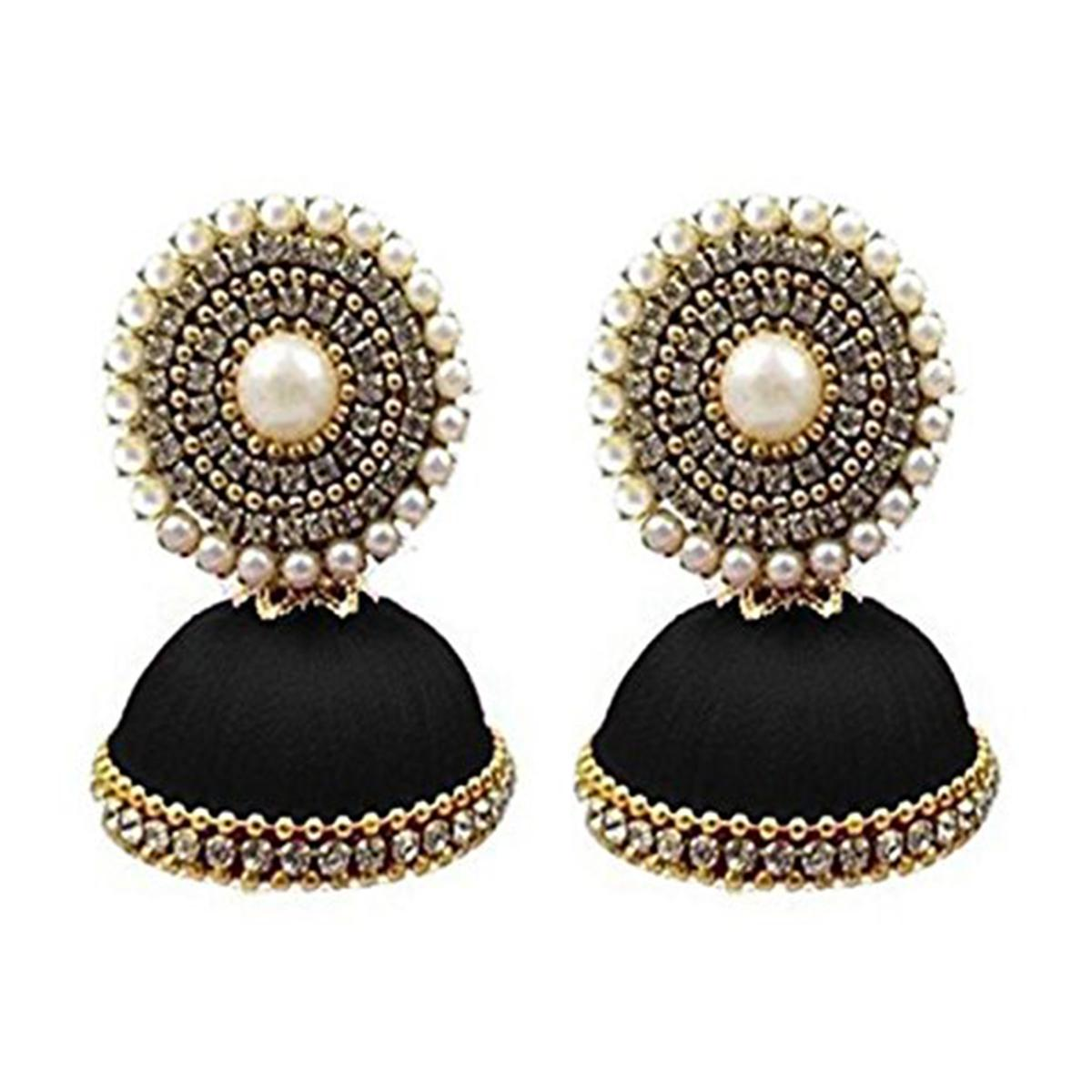 Refreshing Black  Colored Stone Silk Thread Jhumki Earring