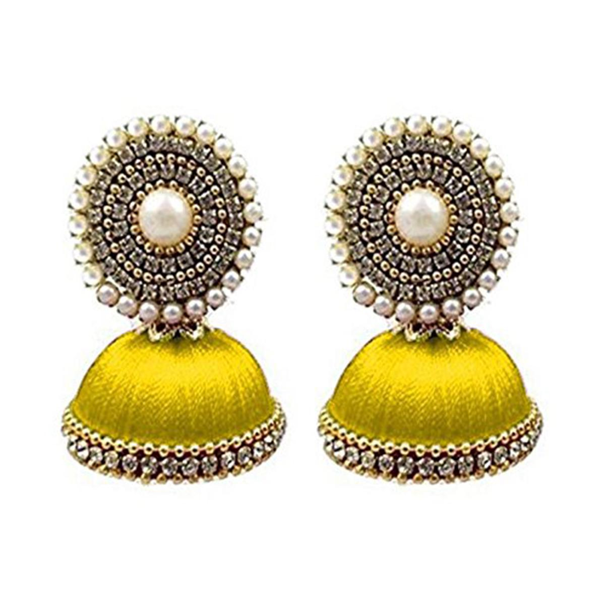 Elegant Yellow Colored Stone Silk Thread Jhumki Earring