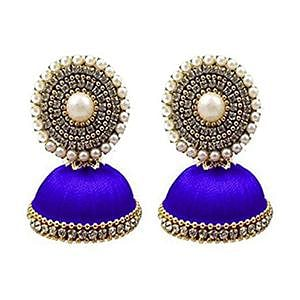 Alluring Royal Blue Colored Stone Silk Thread Jhumki Earring