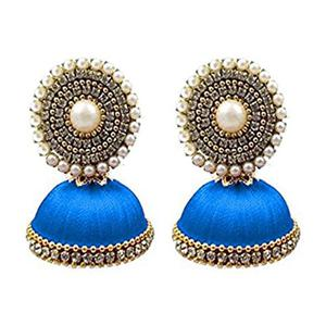 Radiant Blue Colored Stone Silk Thread Jhumki Earring