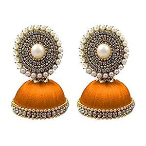Charming Orange Colored Stone Silk Thread Jhumki Earring