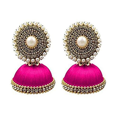 Ravishing Rani Pink Colored Stone Silk Thread Jhumki Earring