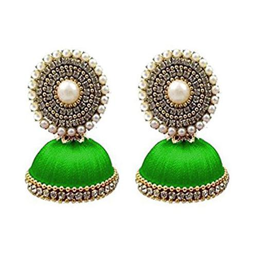 Delightful Green Colored Stone Silk Thread Jhumki Earring