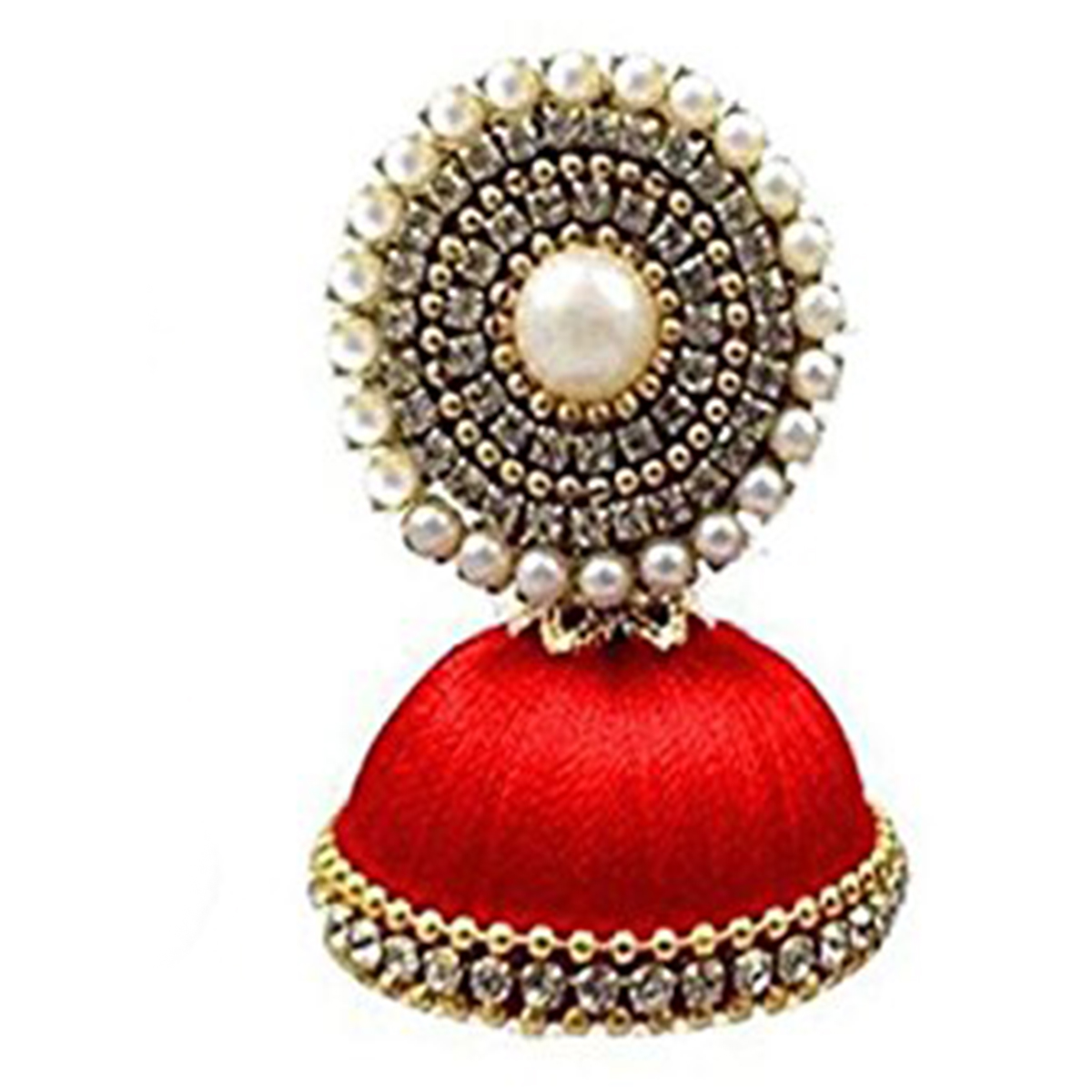 Graceful Red Colored Stone Silk Thread Jhumki Earring