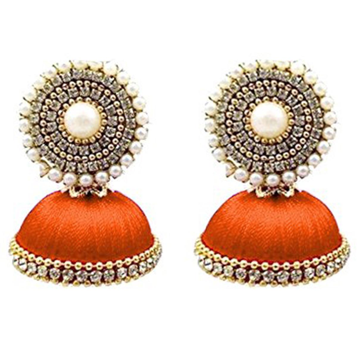 Glorious Orange Colored Stone Silk Thread Jhumki Earring