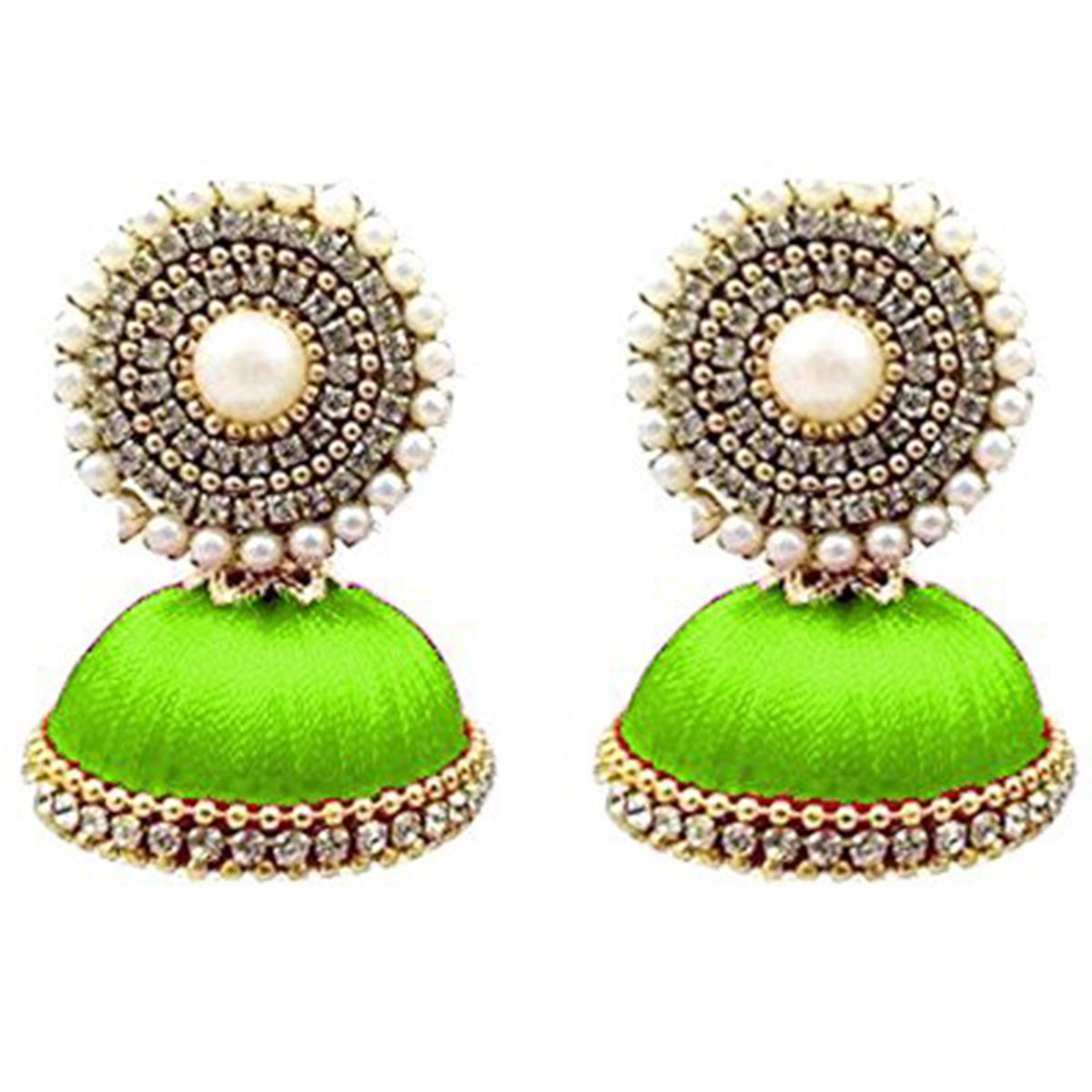 Classy Parrot Green Colored Stone Silk Thread Jhumki Earring