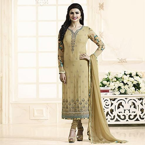 Gorgeous Beige Embroidered Georgette Straight Suit