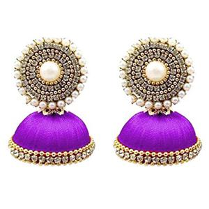 Gorgeous Purple Colored Stone Silk Thread Jhumki Earring