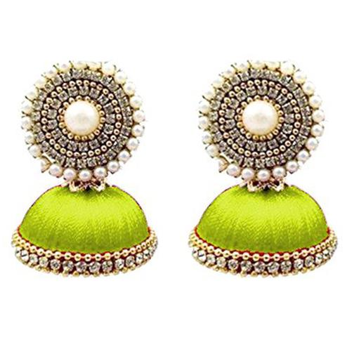 Beautiful Light Green Colored Stone Silk Thread Jhumki Earring
