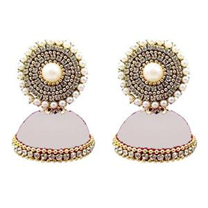 Adorable White Colored Stone Silk Thread Jhumki Earring