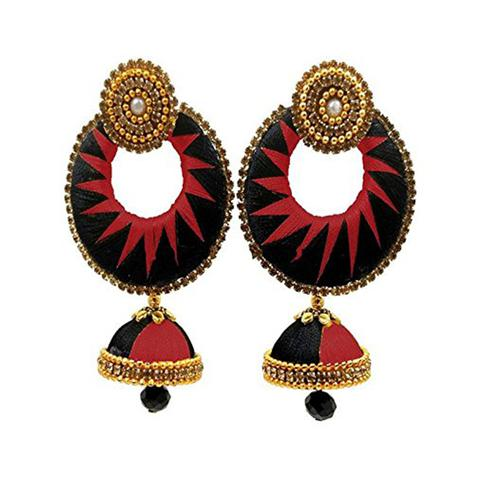 Adorable Black & Maroon Colored Stone Work Work Silk Thread Jhumki Earring