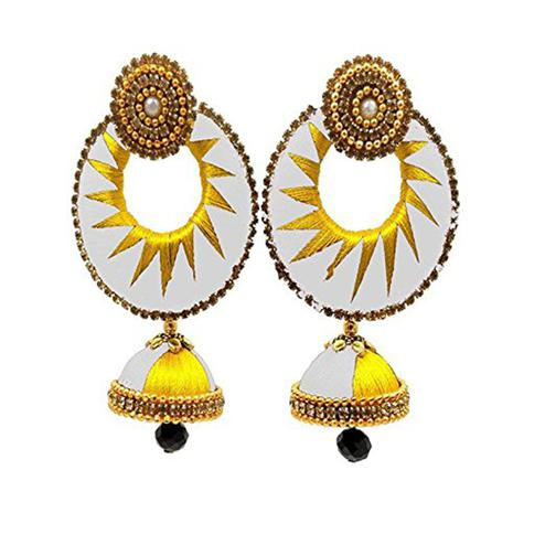 Attractive White & Yellow Colored Stone Work Silk Thread Jhumki Earring