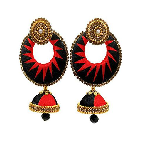 Beautiful Black & Red Colored Stone Work Silk Thread Jhumki Earring